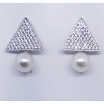 925 Sterling Silver Pearl Stud Earrings With Cubic Zirconia