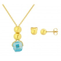Stainless Steel Yellow Gold Tone Necklace & Earring Set With Golden Ball & Blue Glass