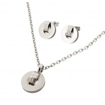 Stainless Steel Yellow Gold Tone Necklace & Earring Set 18 Inches Long With 2 Inches Extension
