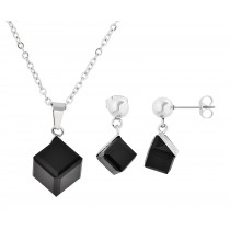 Stainless Steel Pendant & Earrings Set With Black Stone 18 Inches Long With 2 Inches Extension
