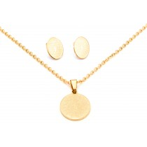 Stainless Steel Yellow Gold Tone Necklace & Earring Set