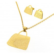 Stainless Steel Yellow Gold Tone Handbag Design Necklace & Earring Set 18 Inches Long