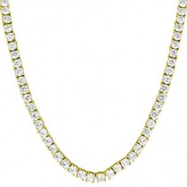 "925 Sterling Silver Yellow Gold Plated 3mm 16"" Long Cubic Zirconia Tennis Necklace"