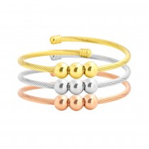Stainless Steel Tri Color Tone Cable Bangle Set