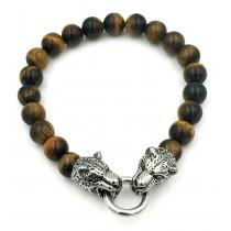 Stainless Steel Brown cat Eyes Panther Head Bead Bracelet