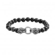 Stainless Steel Grey Flash Stone  Lion Heads Bead Bracelet