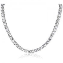 "925 Sterling Silver 5mm 16"" Long Cubic Zirconia Tennis Necklace"