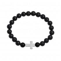 Stainless Steel Black Onyx Cross Beaded Bracelet
