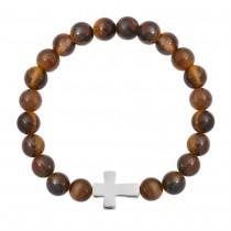 Stainless Steel Brown Tiger Eye Cross Beaded Bracelet