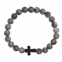 Stainless Steel Sandy Grey Marble Cross Beaded Bracelet