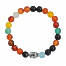Stainless Steel Colorful Agate Buddha Bead Bracelet