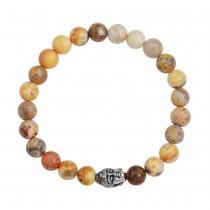 Stainless Steel Crazy Agate Buddha Bead Bracelet
