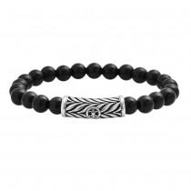 Stainless Steel Black Onyx Beaded Bracelet