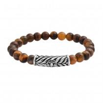 Stainless Steel Brown Tiger Eye Bead Bracelet
