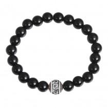 Stainless Steel Shiny Black Onyx G Wall Beaded Bracelet