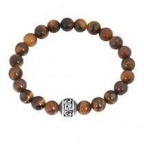 Stainless Steel Shiny Brown Tiger Eye G Wall Beaded Bracelet