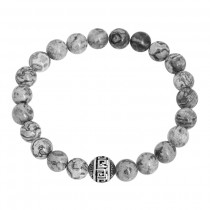 Stainless Steel Shiny Grey Marble G Wall Beaded Bracelet