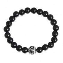 Stainless Steel Shiny Black Onyx Cross Beaded Bracelet