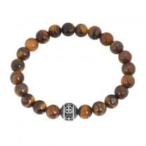 Stainless Steel Shiny Brown Tiger Eye Cross Beaded Bracelet