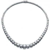 "925 Sterling Silver 17"" Long Cubic Zirconia Graduated Tennis Necklace"
