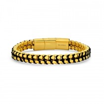 Stainless Steel Men's 18k Gold Plated Woven Double Layer Box Chain Bracelet