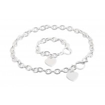 Stainless Steel Silver Plated 18 Inch Necklace & 7 Inch Bracelet Set