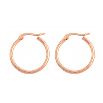 Stainless Steel Rose Gold Tone Ladies Hoops Earrings (2mm x 20mm)