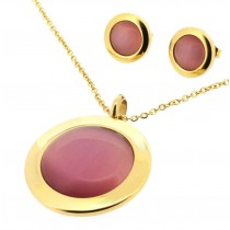 Stainless Steel Yellow Gold Tone Necklace & Earring Set With Pink Cat Eyes