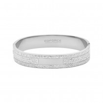 Stainless Steel Silver Tone Bangle With CZ Stones 12mm