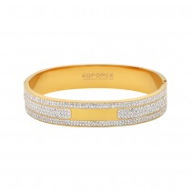 Stainless Steel Gold Tone Bangle With CZ Stones 12mm