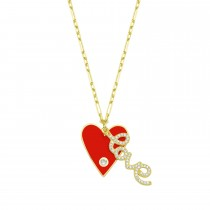 Sterling Silver Yellow Gold Plated Heart & Love Necklace With Red Enamel & White Cubic Zirconia