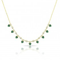 Sterling Silver Yellow Gold Plated Heart Charm Necklace With Emerald Green Cubic Zirconia