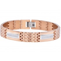 Stainless Steel Men's Rose Bracelet With Cubic Zirconia