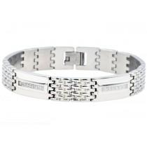Stainless Steel Men's Bracelet With Cubic Zirconia