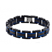 Men's Blue And Black Plated Stainless Steel Bracelet