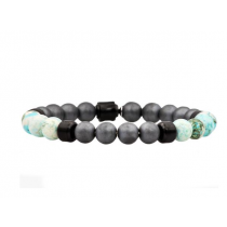 Men's Genuine African Turquoise And Hematite Black Plated Stainless Steel Beaded Bracelet