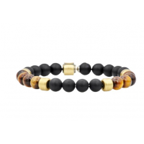 Men's Genuine Onyx And Tiger Eye Gold Plated Stainless Steel Beaded Bracelet