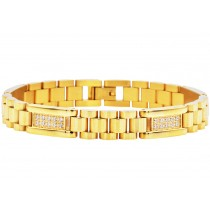 Stainless Steel Men's Gold Link Bracelet With Cubic Zirconia