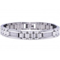 Stainless Steel Men's Polished Link Bracelet With Cubic Zirconia