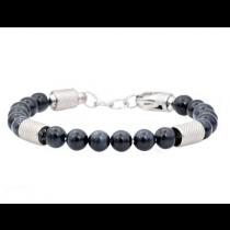 Men's Genuine Blue Tiger Eye Stainless Steel Beaded Bracelet