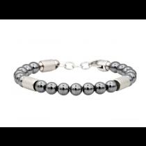 Men's Genuine Hematite Stainless Steel Beaded Bracelet
