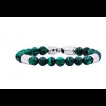 Men's Genuine Malachite Stainless Steel Beaded Bracelet