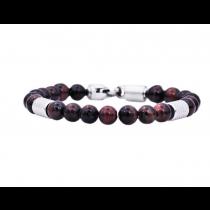 Men's Genuine Red Tiger Eye Stainless Steel Beaded Bracelet