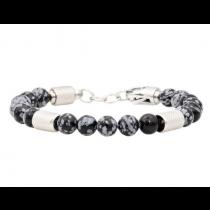 Men's Genuine Obsidian Stainless Steel Beaded Bracelet