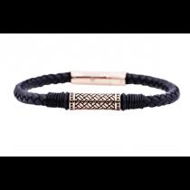Men's Black Leather Rose Plated Stainless Steel Bracelet