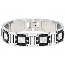 Stainless Steel Men's Wide Bracelet With Black