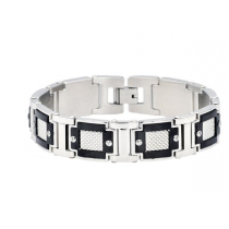 Men's Black Plated Stainless Steel Link Bracelet
