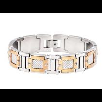 Men's Rose Plated Stainless Steel Link Bracelet