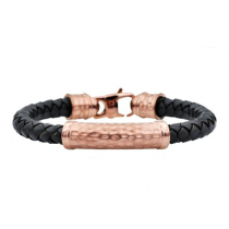 Men's Black Leather And Chocolate Plated Hammered Stainless Steel Bracelet