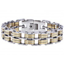 Stainless Steel Men's Two Tone Gold Double Link Wide Bracelet